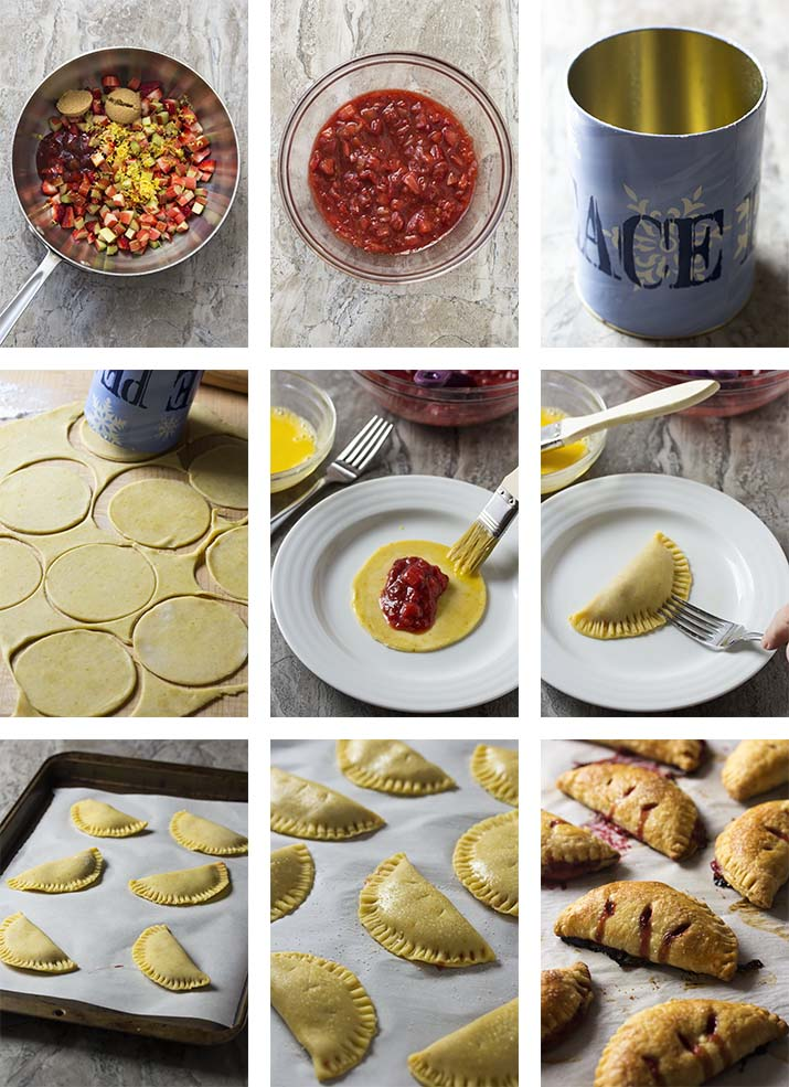 Photo collage showing the step by step instructions for making strawberry rhubarb hand pies.