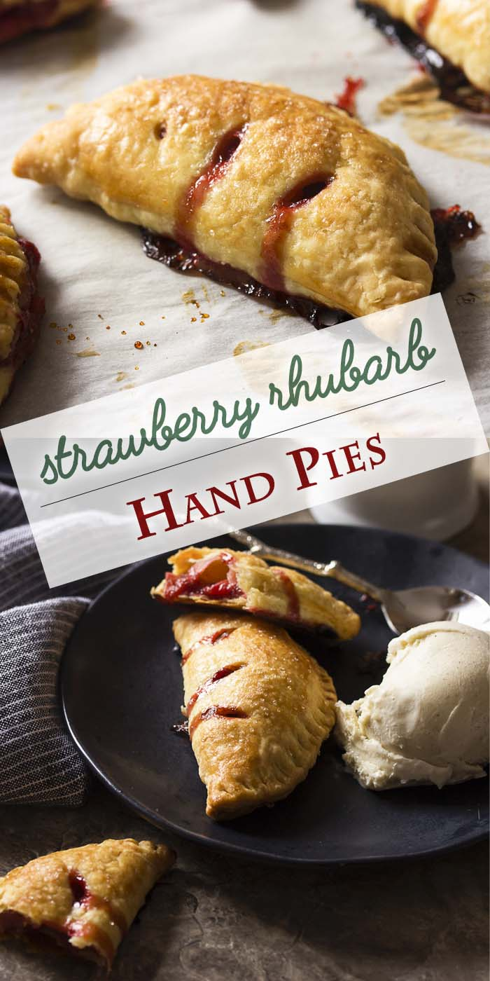 Make the most of fresh spring fruit with homemade rhubarb and strawberry hand pies! These mini, individual pastries are fun to make and to eat. Can be prepared ahead and frozen or made and served immediately. Great with vanilla ice cream! | justalittlebitofbacon.com #strawberries #rhubarb #dessertrecipes #fruitpie #pies #springrecipes #handpies