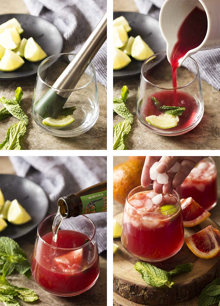 Photo collage of step by step pictures showing how to make a blood orange Moscow mule.