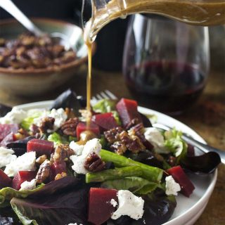 French country salad is an easy and healthy spring salad featuring asparagus, roasted beets, pecans and goat cheese. Inspired by the Cheesecake Factory salad and perfect for a light lunch or as fresh side at dinner.