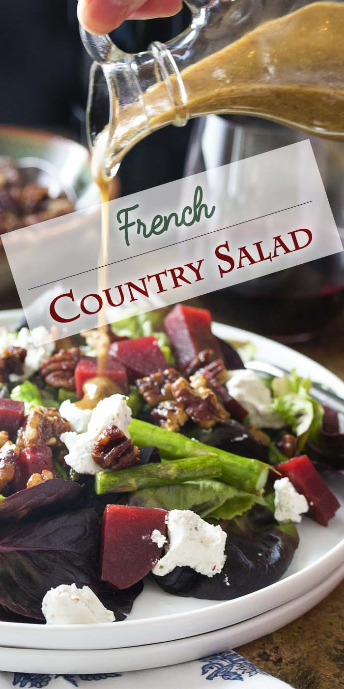 French country salad is an easy and healthy spring salad featuring asparagus, roasted beets, pecans and goat cheese. Inspired by the Cheesecake Factory salad and perfect for a light lunch or as fresh side at dinner. | justalittlebitofbacon.com #saladrecipes #salad #sidedish #springrecipes #frenchrecipes