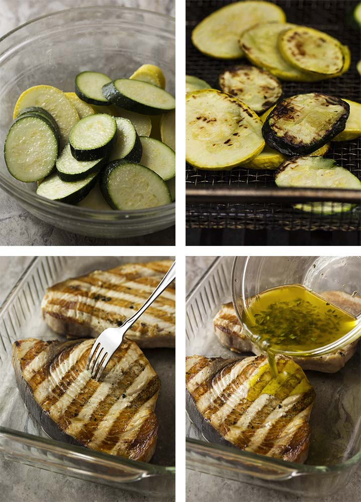 Step by step photos on how to make Sicilian swordfish and grilled summer squash