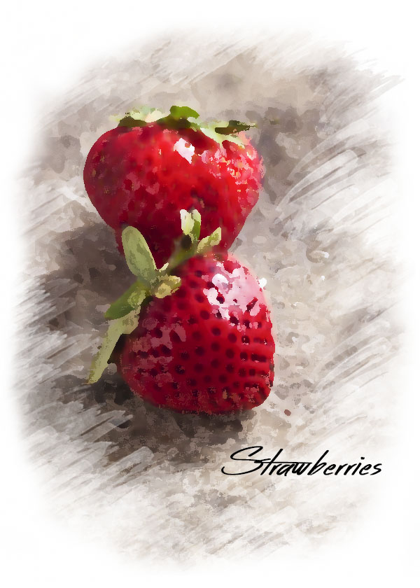 Watercolor style photo of strawberries