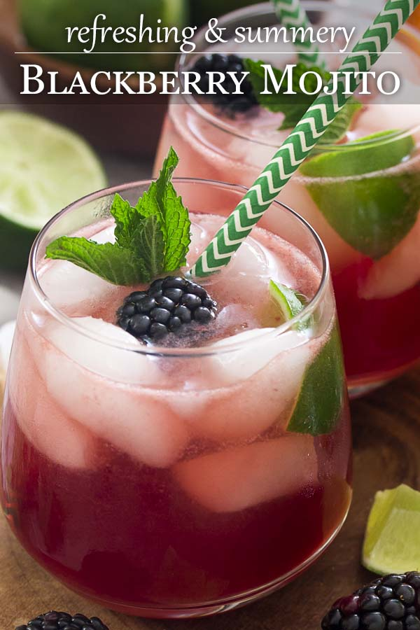 For an easy and refreshing summer cocktail bring together mint, lime juice, and rum along with fresh blackberries for a blackberry mojito! Great for a party or a warm evening on the deck.   justalittlebitofbacon.com #summerrecipes #drinkrecipes #cocktails #mojito #blackberries