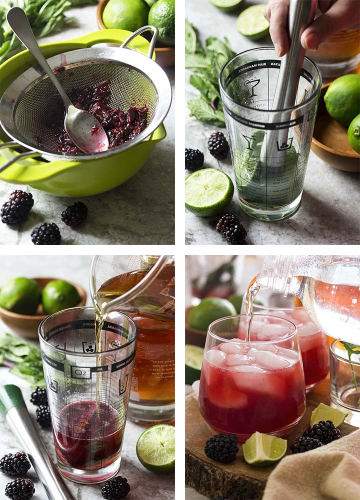 Step by step photos showing how to make a blackberry mojito.