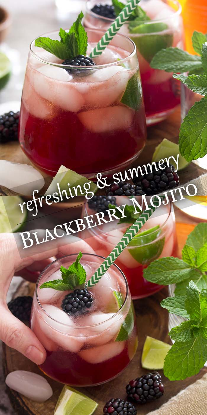 For an easy and refreshing summer cocktail bring together mint, lime juice, and rum along with fresh blackberries for a blackberry mojito! Great for a party or a warm evening on the deck. | justalittlebitofbacon.com #summerrecipes #drinkrecipes #cocktails #mojito #blackberries