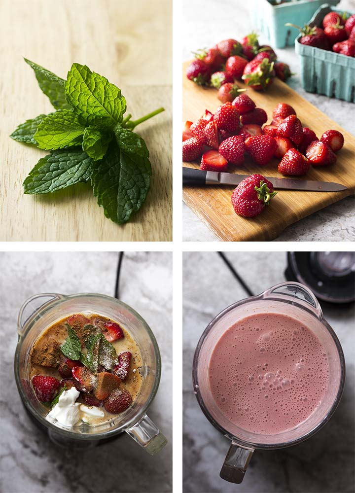 Step by step photos of how to make chilled strawberry soup.