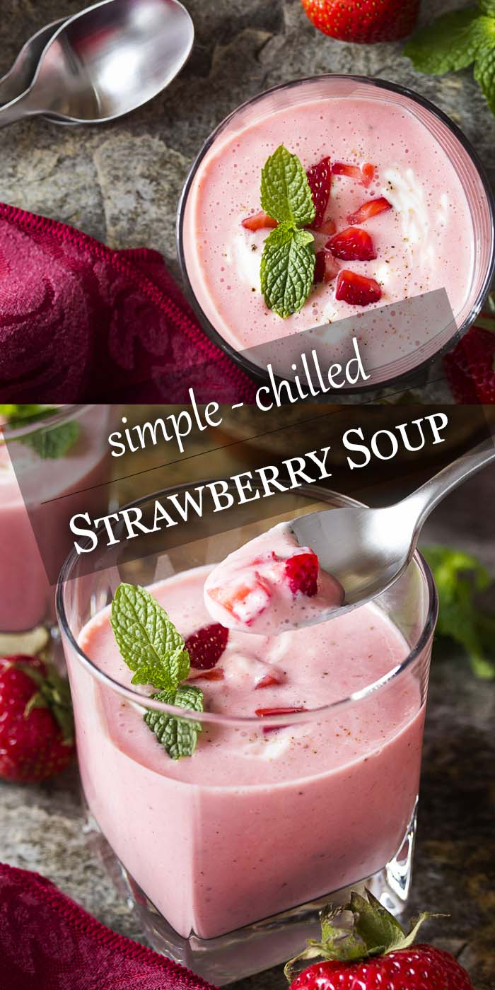 Chilled strawberry soup is a great cold summer appetizer. It's full of ripe fruit, Greek yogurt, and just enough mint to be tangy, sweet, and refreshing. | justalittlebitofbacon.com #summerrecipes #souprecipes #coldsoups #strawberries