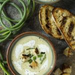 Cold Potato and Garlic Scape Soup (Vichyssoise)