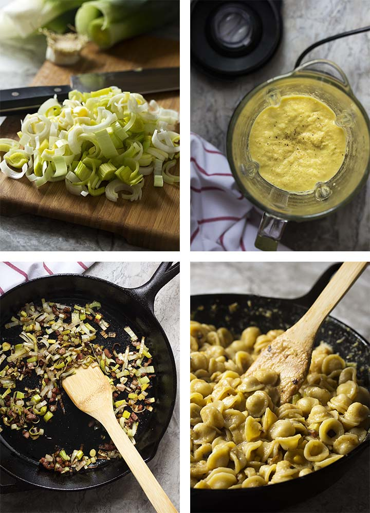Step by step photos on how to make pasta with leeks, pancetta, and corn crema