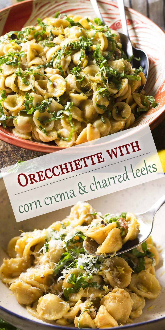 Charred leeks, bacon, and sweet summer corn combine together in this quick, summer comfort food recipe for orecchiette pasta with leeks and corn crema. | justalittlebitofbacon.com #italianfood #dinnerrecipes #pasta #italianrecipes #orecchiette