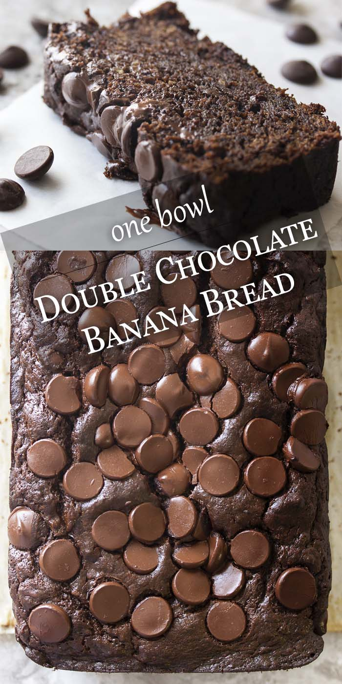 My awesome, moist double chocolate banana bread full of dark chocolate, cocoa powder, bananas, and sour cream can be mixed up in one bowl. Easy and great for dessert or a snack anytime. | justalittlebitofbacon.com #bananabread #chocolaterecipes #chocolatecake #quickbreads