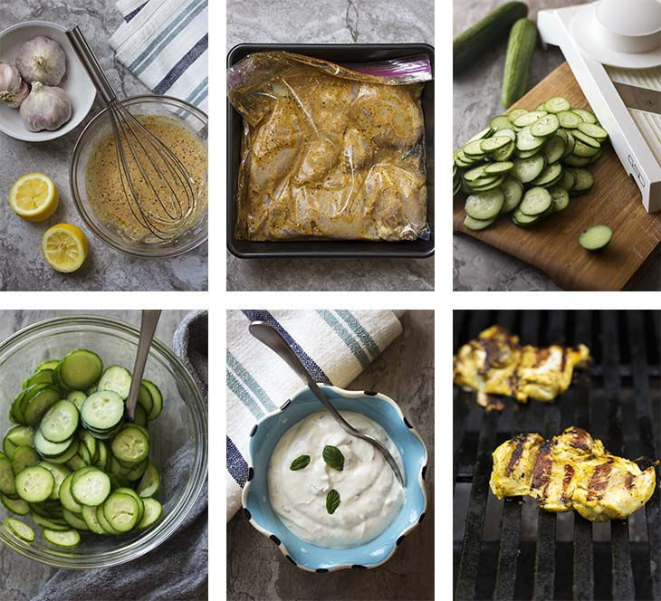 Step by step photos for making chicken shawarma.