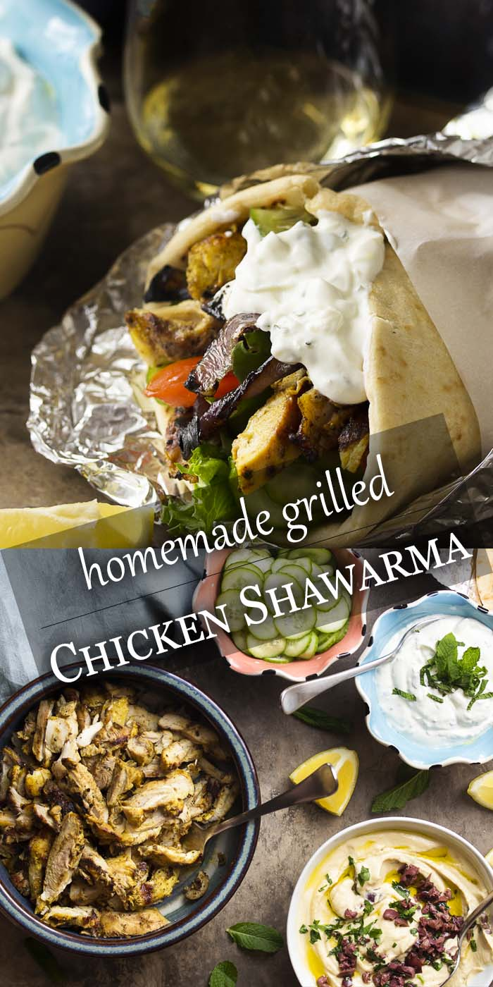 Make your own shawarma wraps! My recipe for homemade grilled chicken shawarma features an intensely flavorful Mediterranean marinade, quick pickled cucumbers, and a tasty yogurt garlic sauce you'll want to put on everything. | justalittlebitofbacon.com #shawarma #chickenrecipes #mediterraneandiet #grilling #middleeastern