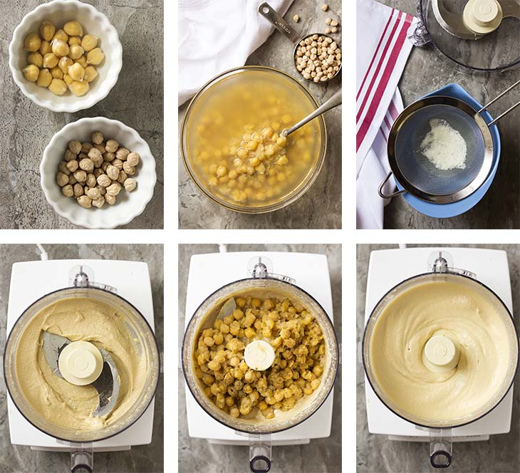 Step by step photos for making Israeli hummus bi tahini.