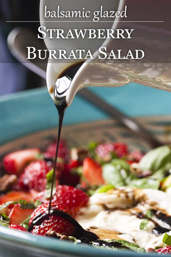 Dive into summer with this easy strawberry burrata salad! Fresh strawberries and creamy burrata are tossed with mint, basil, and pecans then topped with a honey balsamic glaze. | justalittlebitofbacon.com #summerrecipes #strawberries #saladrecipe #burrata