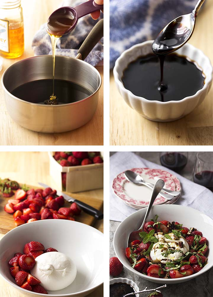 Step by step photos for making strawberry burrta salad and balsamic glaze.