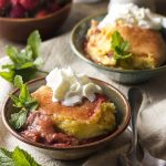 Strawberry Rhubarb Cobbler with Custard Filling