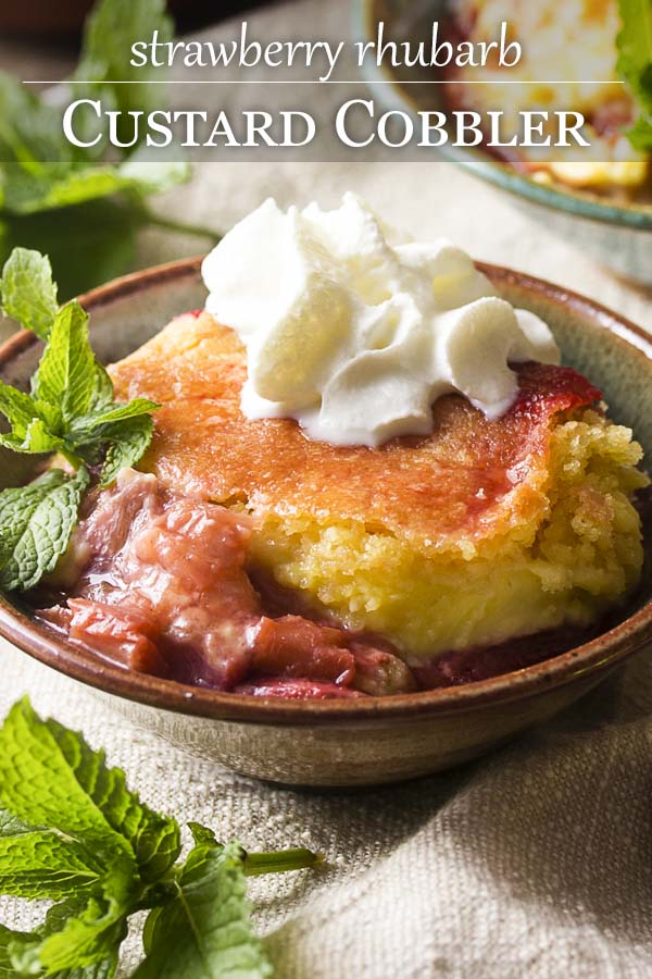 What do you get when you combine a custard pie and fruit cobbler? A strawberry rhubarb cobbler with custard filling! Delicious, creamy, and full of fruit.   justalittlebitofbacon.com #summerrecipes #strawberries #rhubarb #cobbler #dessertrecipes