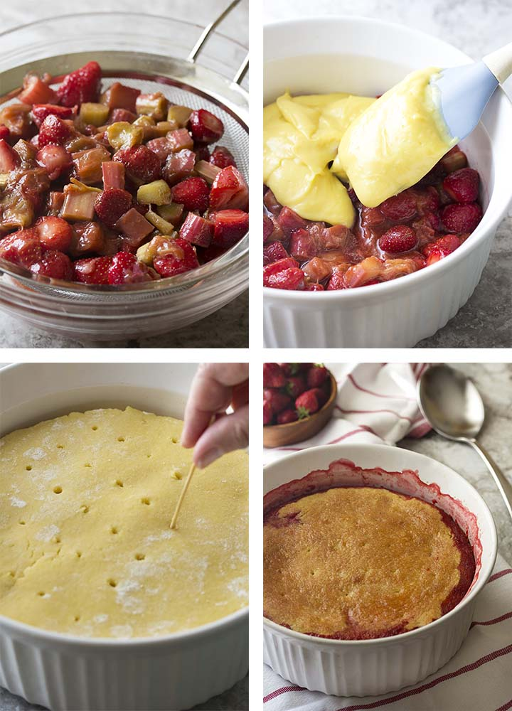 Step by step photos for assembing the strawberry rhubarb cobbler.