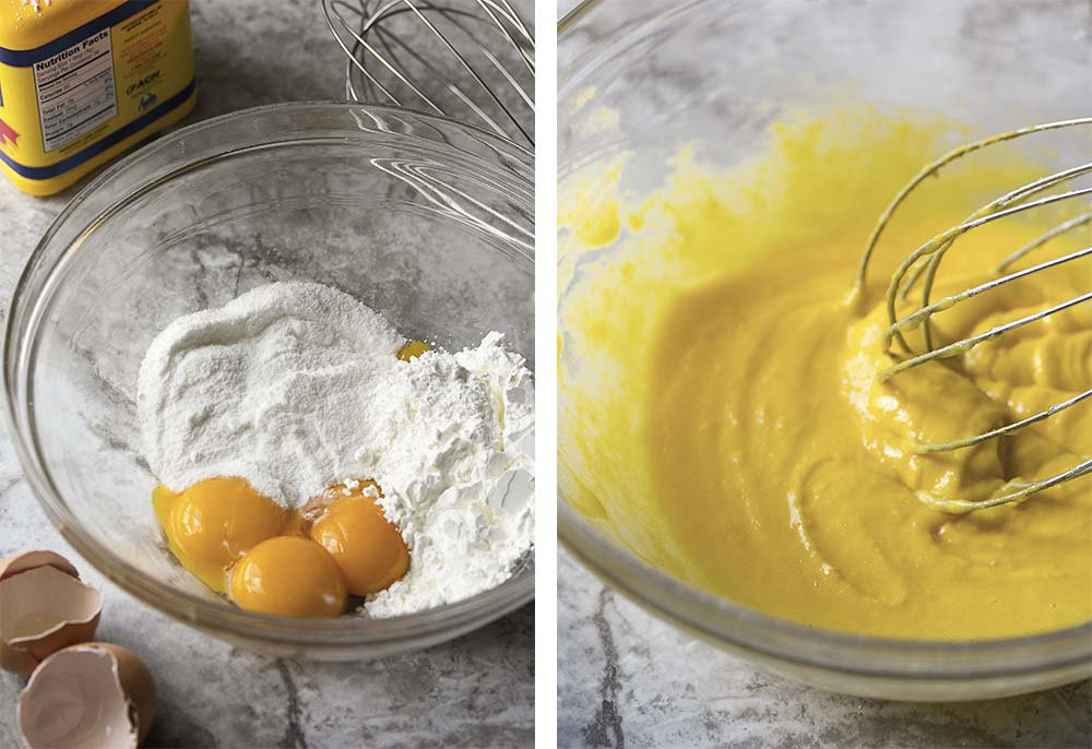 Step by step photos for making the custard.