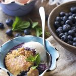 Blueberry Skillet Cobbler with Mint and Cinnamon