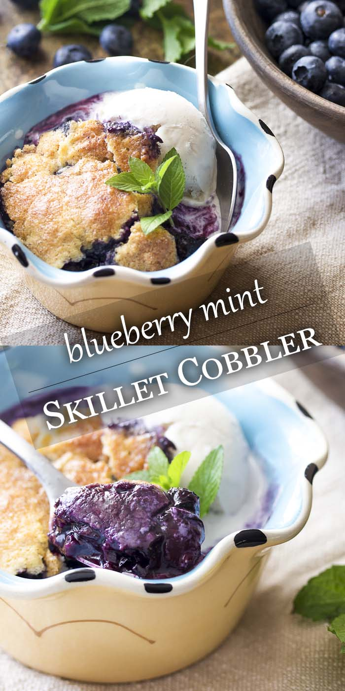 Fresh and easy, this homemade blueberry skillet cobbler is flavored with mint, cinnamon, and maple syrup and cooked right in your cast iron pan. Great for breakfast or dessert with a scoop of vanilla ice cream. | justalittlebitofbacon.com #dessertrecipes #blueberries #summerrecipes #cobbler #blueberrycobbler #castiron