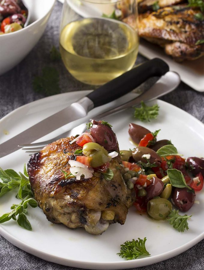 Grilled Mediterranean Chicken Thighs with Olives and Tomatoes