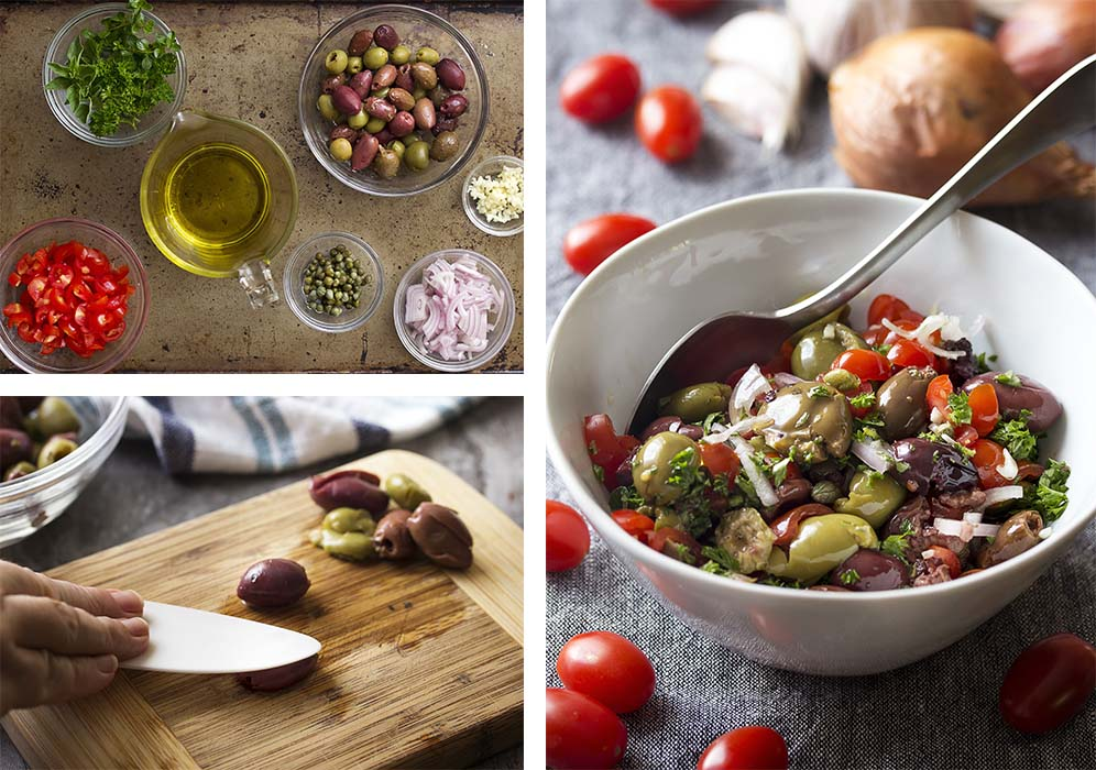 Step by step photos on how to make olive tomato salsa.