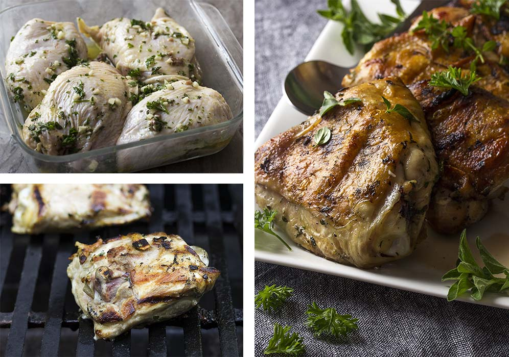 Step by step photos on how to make grilled Mediterranean chicken.