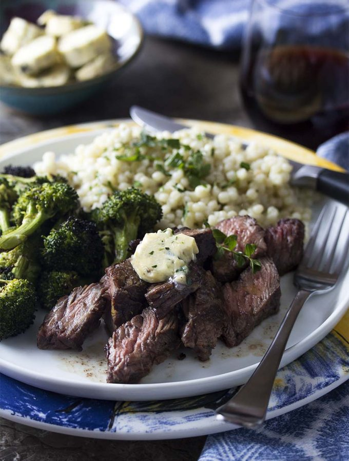 Grilled Sirloin Tip Steaks with Shallot Butter