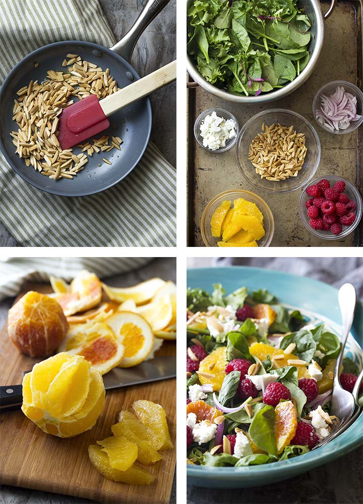 Step by step photos on how to make raspberry salad.
