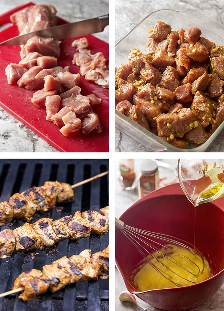 Step by step photos of how to make Spanish pork kebabs.