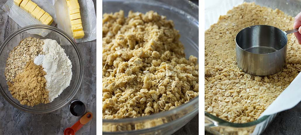 Step by step photos on how to make oatmeal crumble.