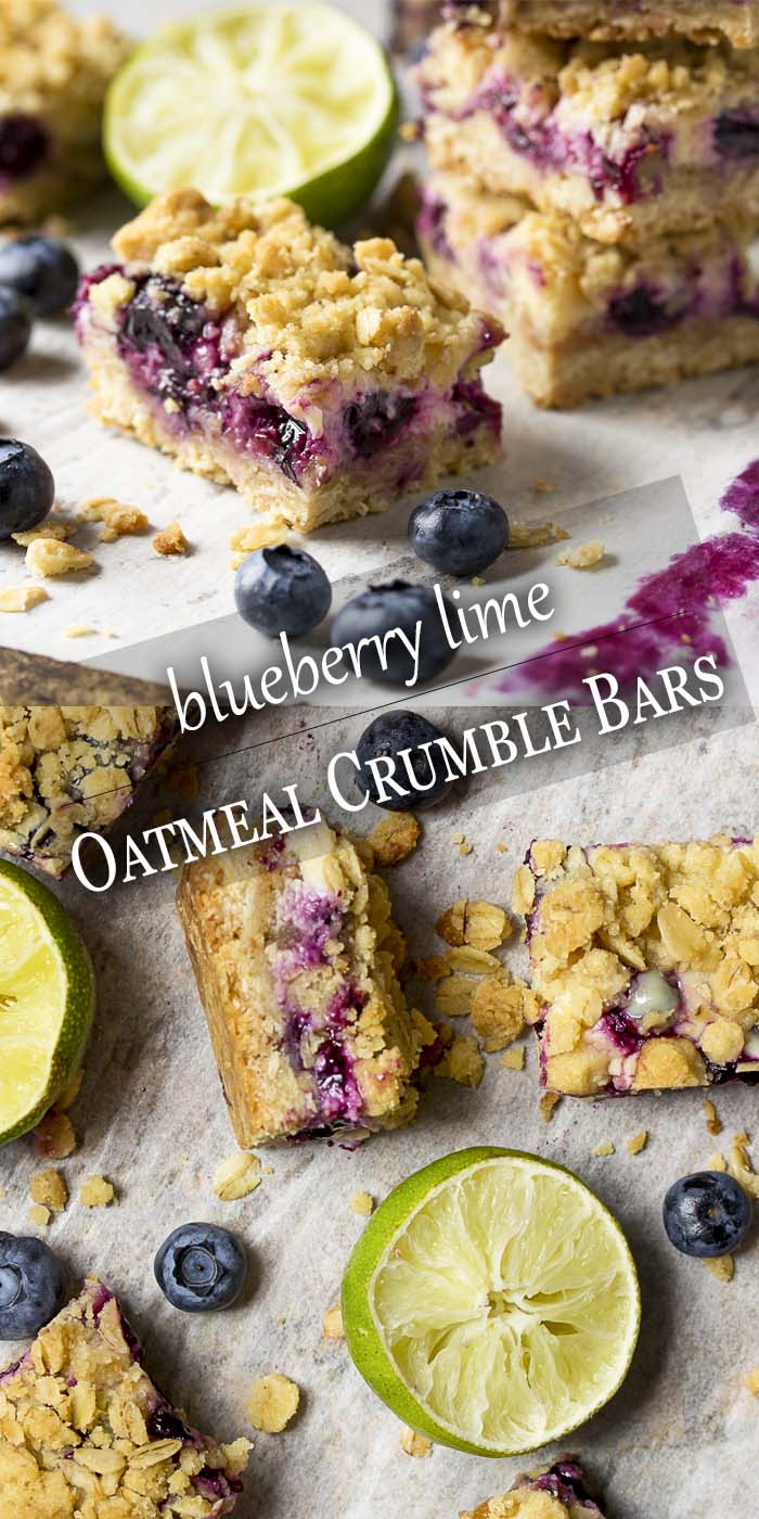 Fresh blueberry oatmeal bars are paired with key lime pie filling and a simple crumble to make the crust and topping. These are a great summer treat! Perfect for parties and bbqs. | justalittlebitofbacon.com #summerrecipes #dessertrecipes #blueberries #barcookies #cookies