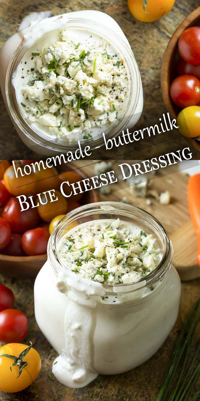 Homemade buttermilk blue cheese dressing is creamy, chunky and simple to make! So much better than bottled dressing. Perfect for salads, wings, and vegetable platters.   justalittlebitofbacon.com #saladrecipes #saladdressing #bluecheese #bluecheesedressing