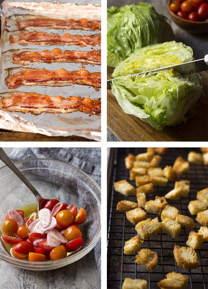 Step by step photos showing how to make classic wedge salad.