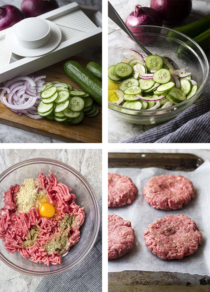 Step by step photos showing how to make cucumber onion salad and Greek beef burgers.