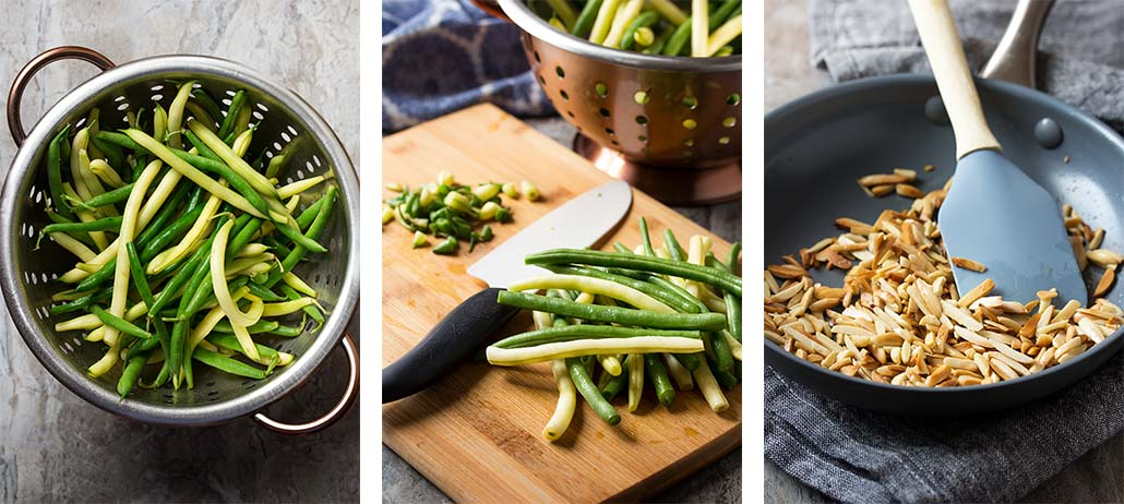 Step by step photos showing how to make green bean almond salad.