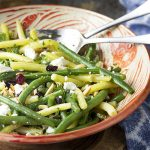 This fresh green bean almond salad with goat cheese and dried cranberries is tossed with a simple vinaigrette. It's the perfect salad for any night. Great for summer parties, weeknight dinners, holidays like Thanksgiving and Christmas.