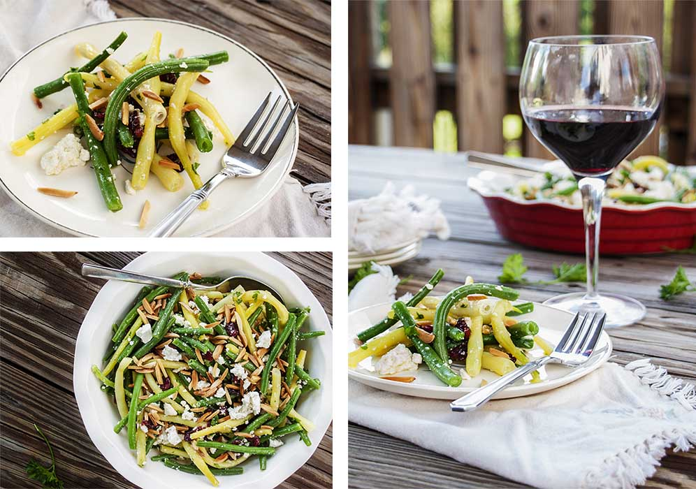Collage of the original photos of green bean salad, showing salad on plates and in a serving bowl.