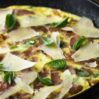 Leek frittata with mustard greens and prosciutto is a great, easy cast iron recipe for breakfast, brunch or dinner. Switch it up by using spinach or kale. Serve hot or at room temperature.