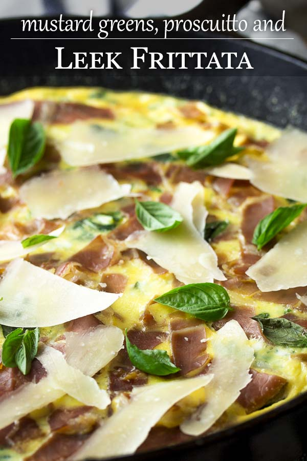 Leek frittata with mustard greens and prosciutto is a great, easy cast iron recipe for breakfast, brunch or dinner. Switch it up by using spinach or kale. Serve hot or at room temperature. | justalittlebitofbacon.com #eggs #eggrecipes #brunchrecipes #easydinners #frittata #italianrecipes