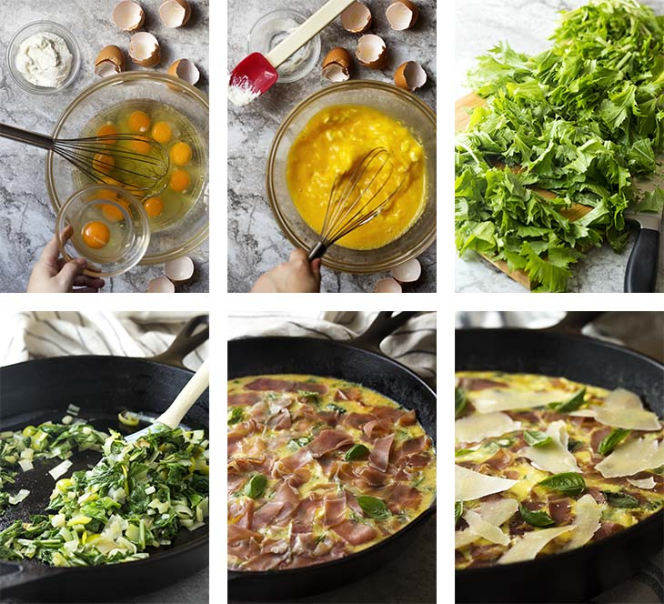 Step by step photos on how to make leek frittata.