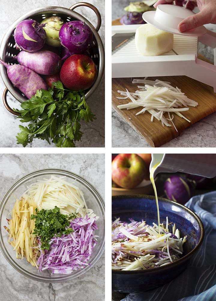 Step by step photos on how to make kohlrabi apple slaw.