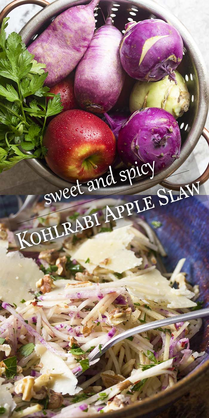 Kohlrabi apple slaw is a yummy salad made from sweet apples, spicy radishes, and peppery kohlrabi, all tossed with a simple oil and vinegar dressing. | justalittlebitofbacon.com #summerrecipes #glutenfree #saladrecipes #healthyrecipes #salad