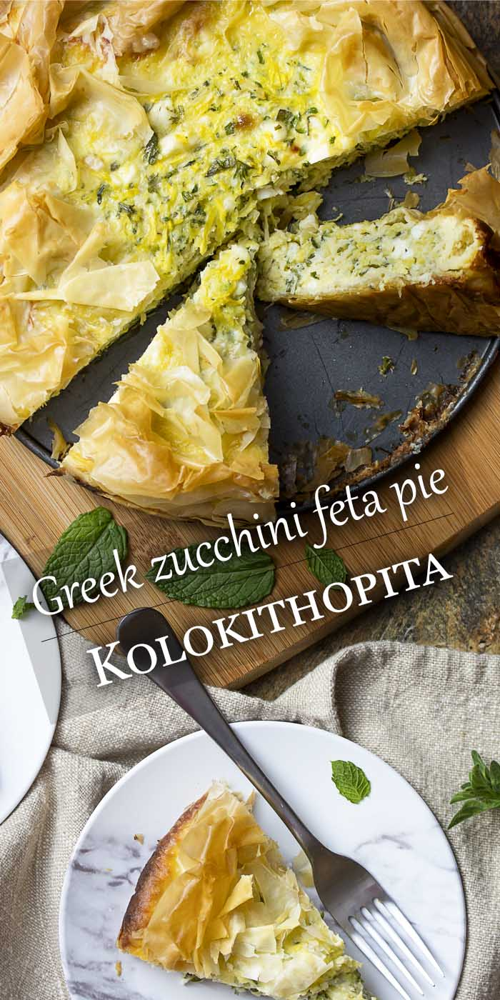 Kolokithopita is a seasonal Greek pie full of zucchini and summer squash mixed with herbs, feta cheese, and eggs. All wrapped in a golden brown fillo crust. | justalittlebitofbacon.com #summerrecipes #greekrecipes #kolokithopita #zucchini #summersquash #greekpie