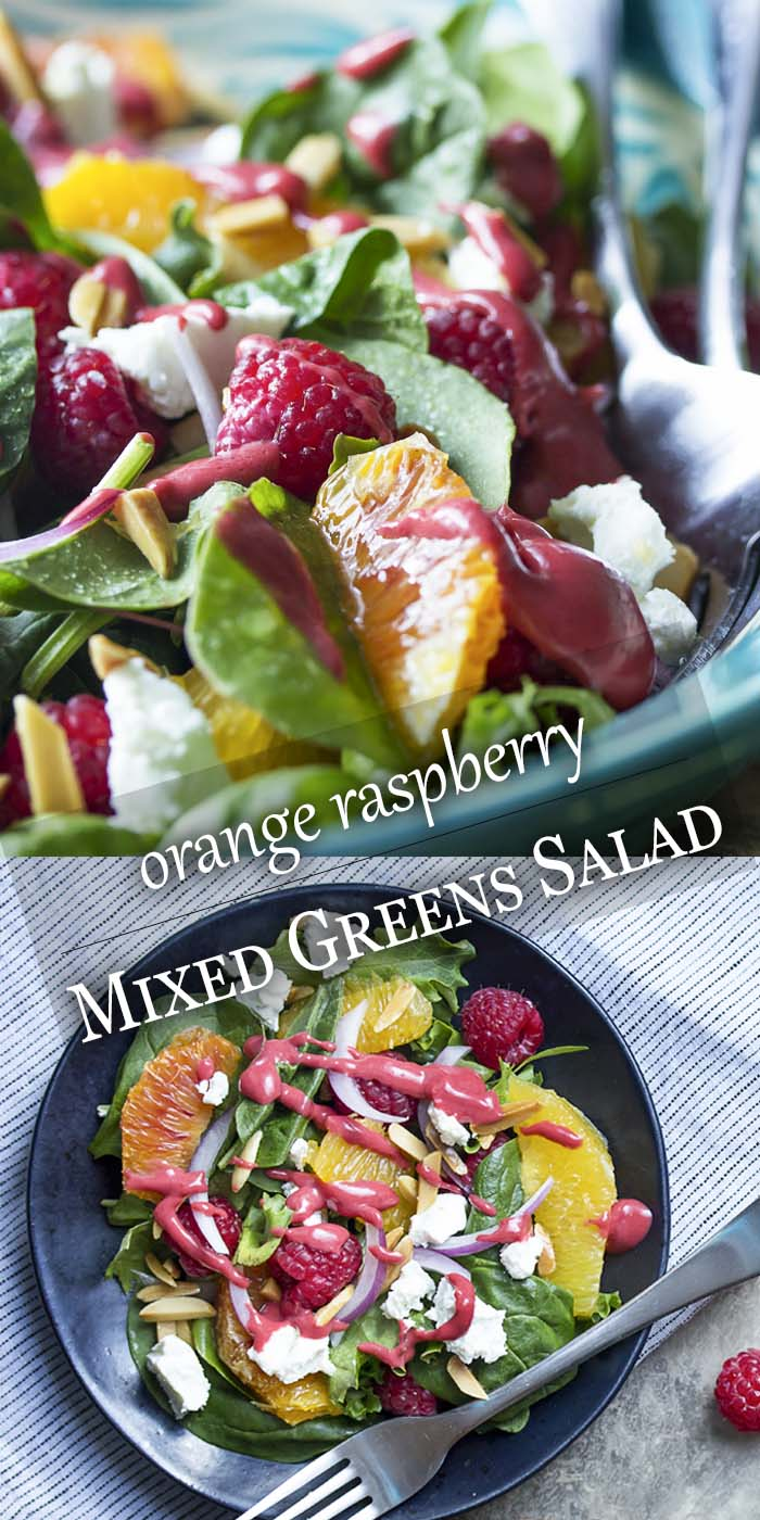 This sweet and tangy summer raspberry salad with mixed greens, oranges, goat cheese, and almonds is an easy and delicious side. Perfect with grilled meats. | justalittlebitofbacon.com #summerrecipes #glutenfree #saladrecipes #raspberries #healthyrecipes #salad