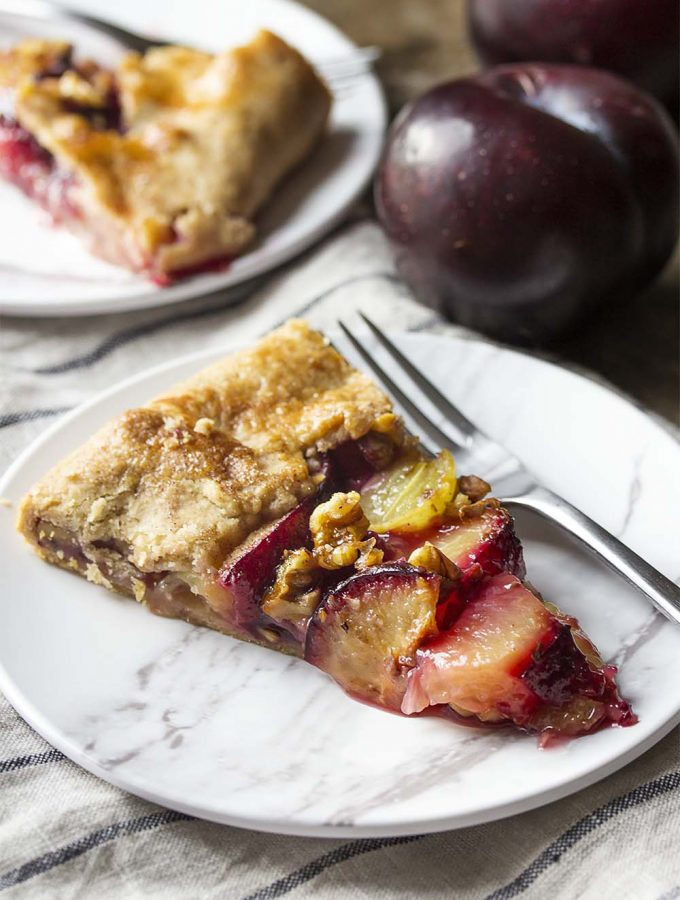 Plum Galette with Grapes and Walnuts