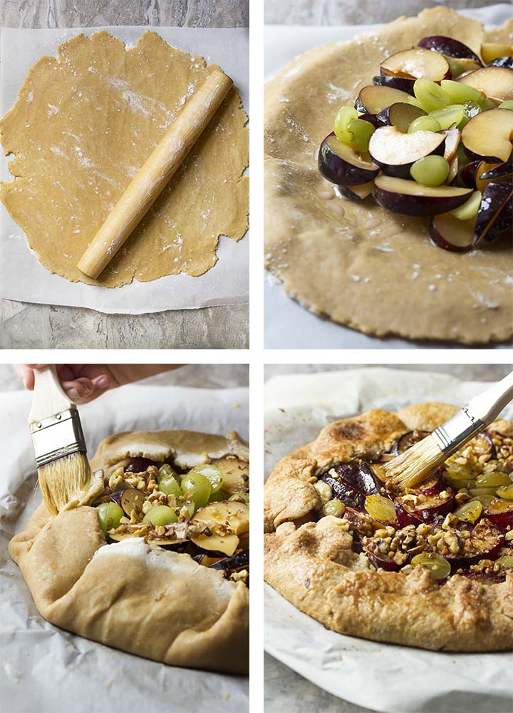 Step by step photos on how to assemble a plum galette.